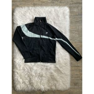 VTG Nike Track Jacket Youth M Black Grey Full Zip